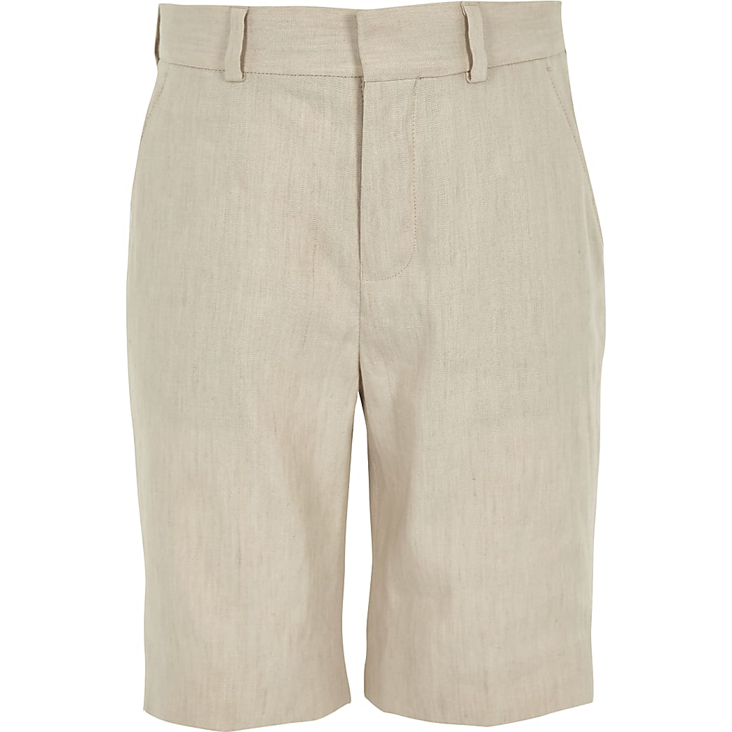 Boys ecru linen suit shorts