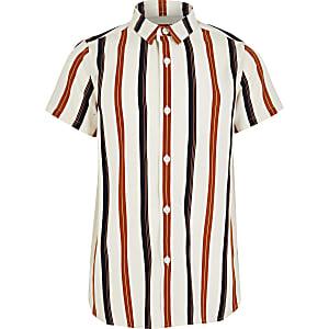 Ecru gestreept overhemd met korte mouwen voor jongens