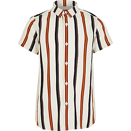 Boys ecru stripe short sleeve shirt
