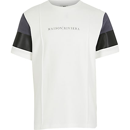 Boys ecru suedette block t-shirt
