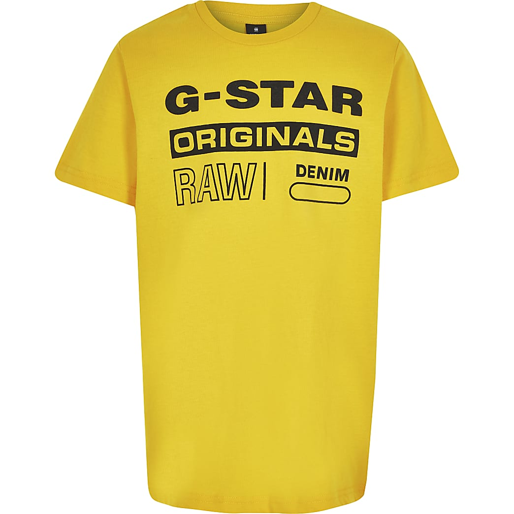 G-star – Originals – T-shirt à logo jaune garçon