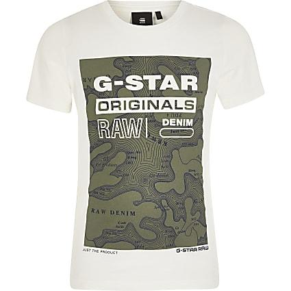 Boys G-Star Raw cream printed T-shirt