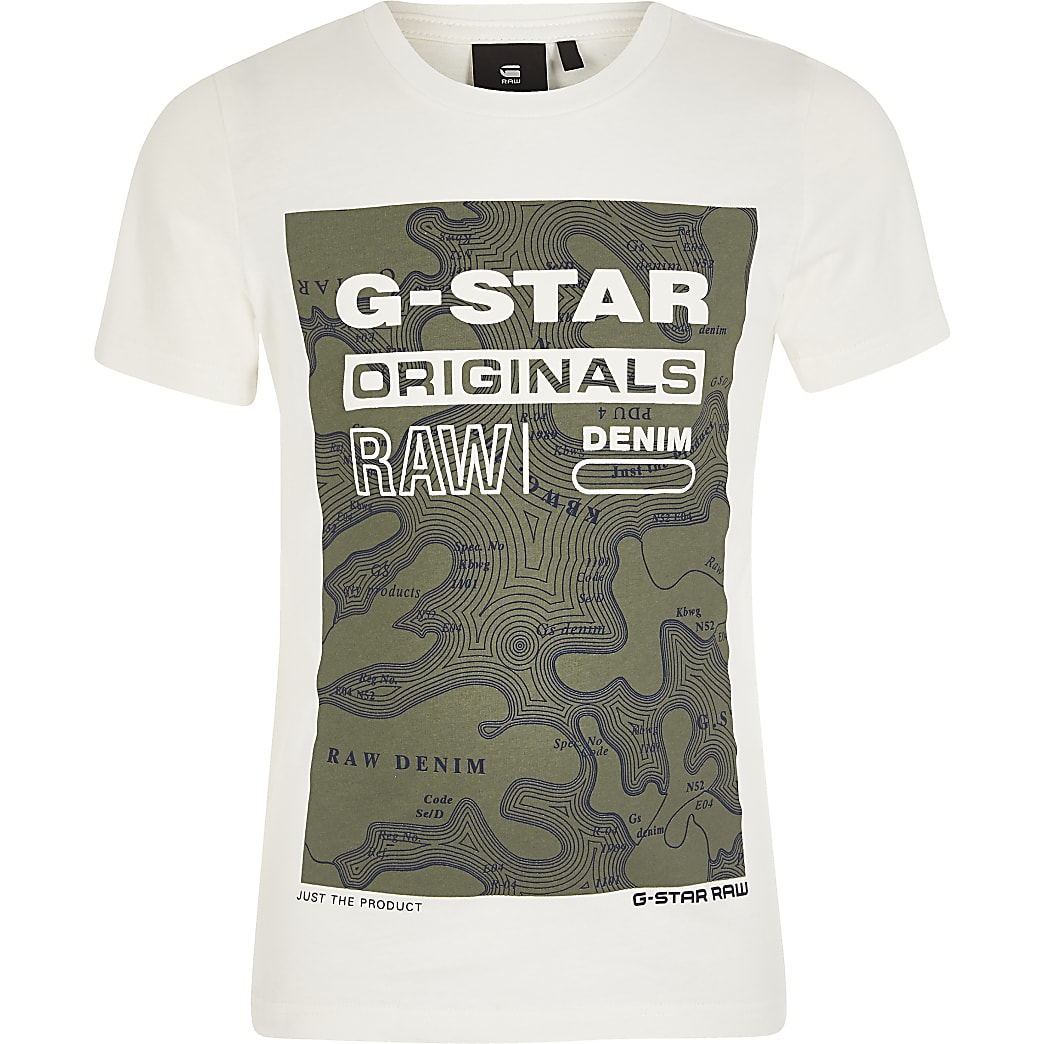 Boys G-Star Raw cream printed T-shirt