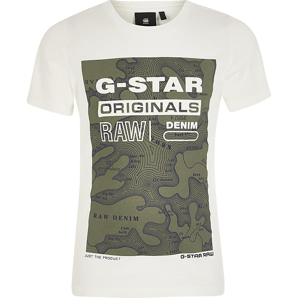 G-Star Raw - Crèmekleurig T-shirt met print voor jongens
