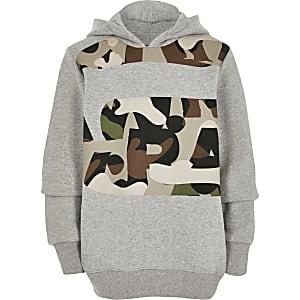 G-Star Raw - Grijze camouflage hoodiemet print voor jongens