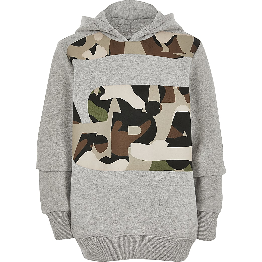 Boys G-Star Raw grey camo print hoodie