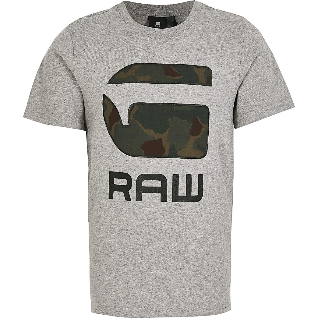 G-Star Raw - Grijs camouflage T-shirt voor jongens