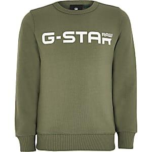 G-Star Raw - Kaki sweater met logo voor jongens