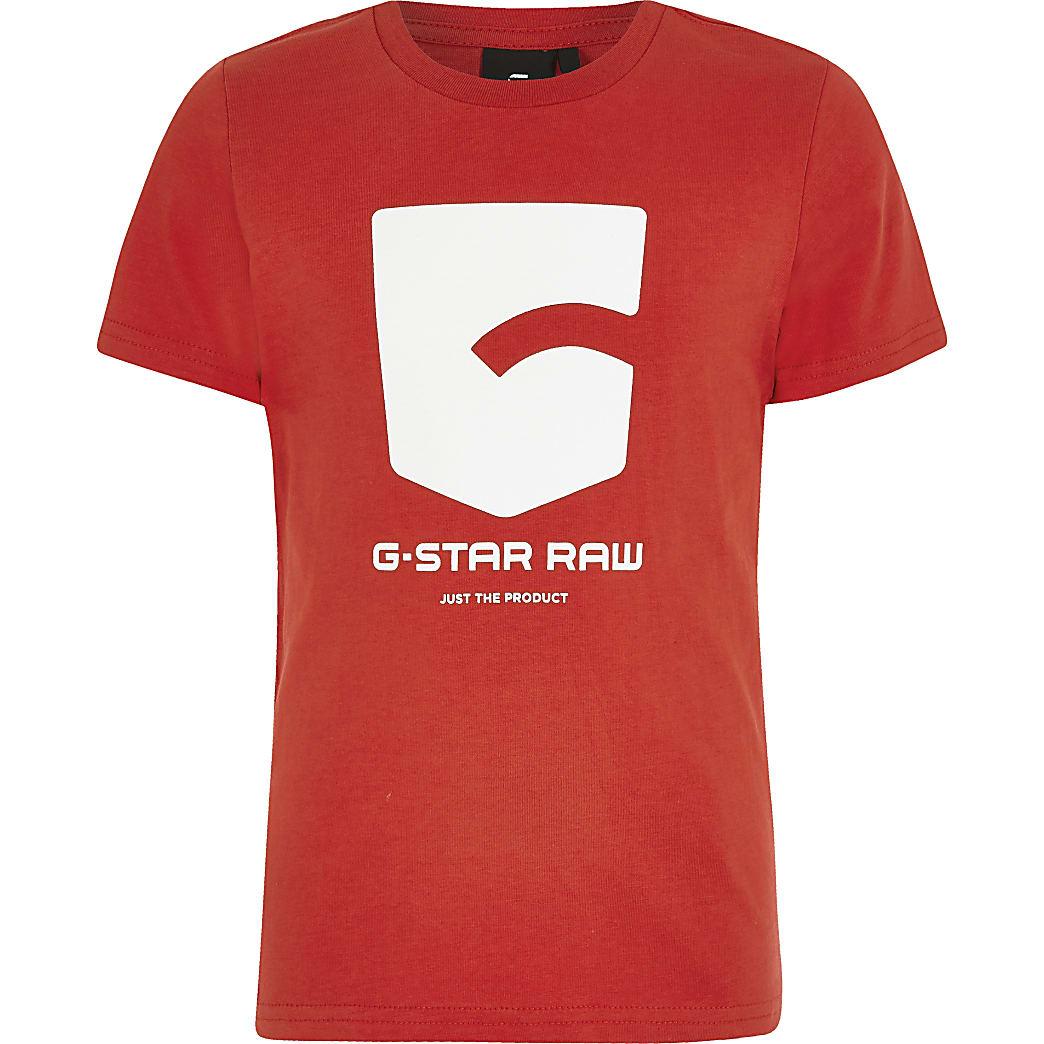 G-Star Raw– Rotes T-Shirt mit Logo-Print für Jungen