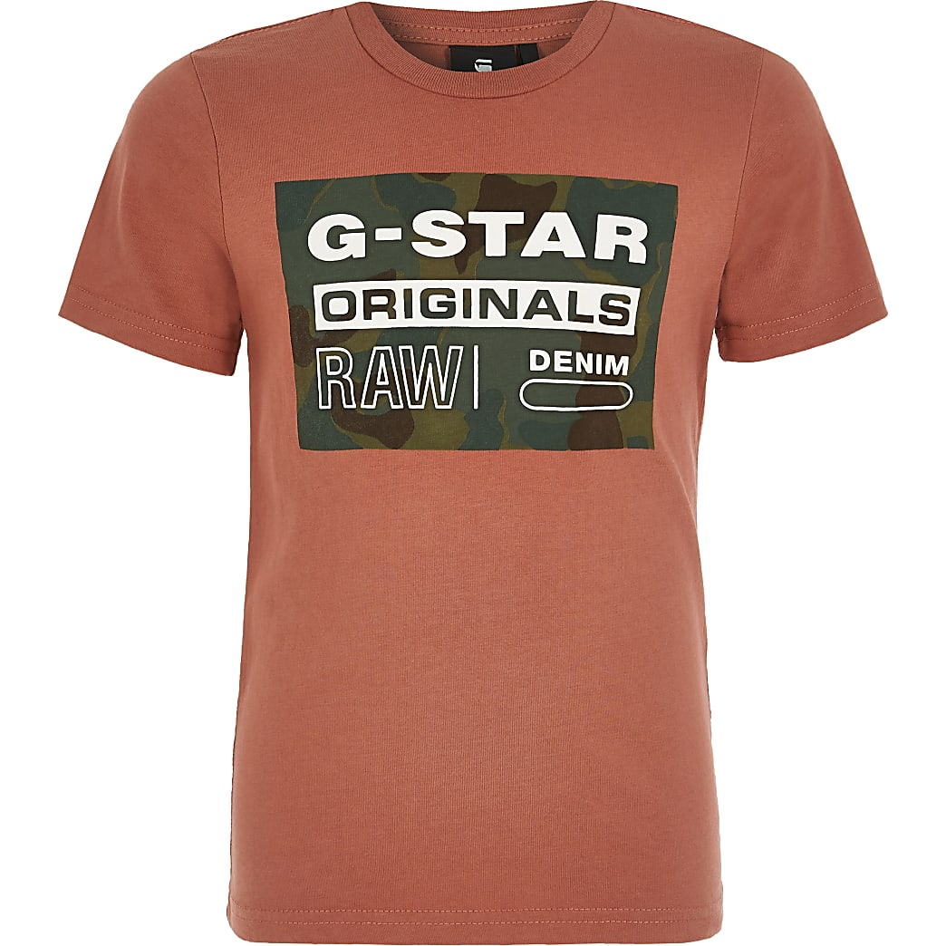 Boys G-Star Raw red printed T-shirt