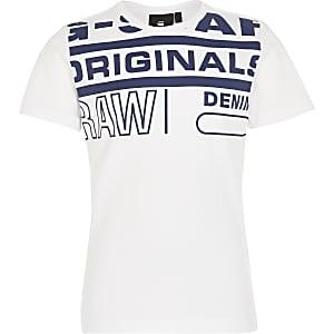 G-Star Raw - Wit T-shirt met print voor jongens