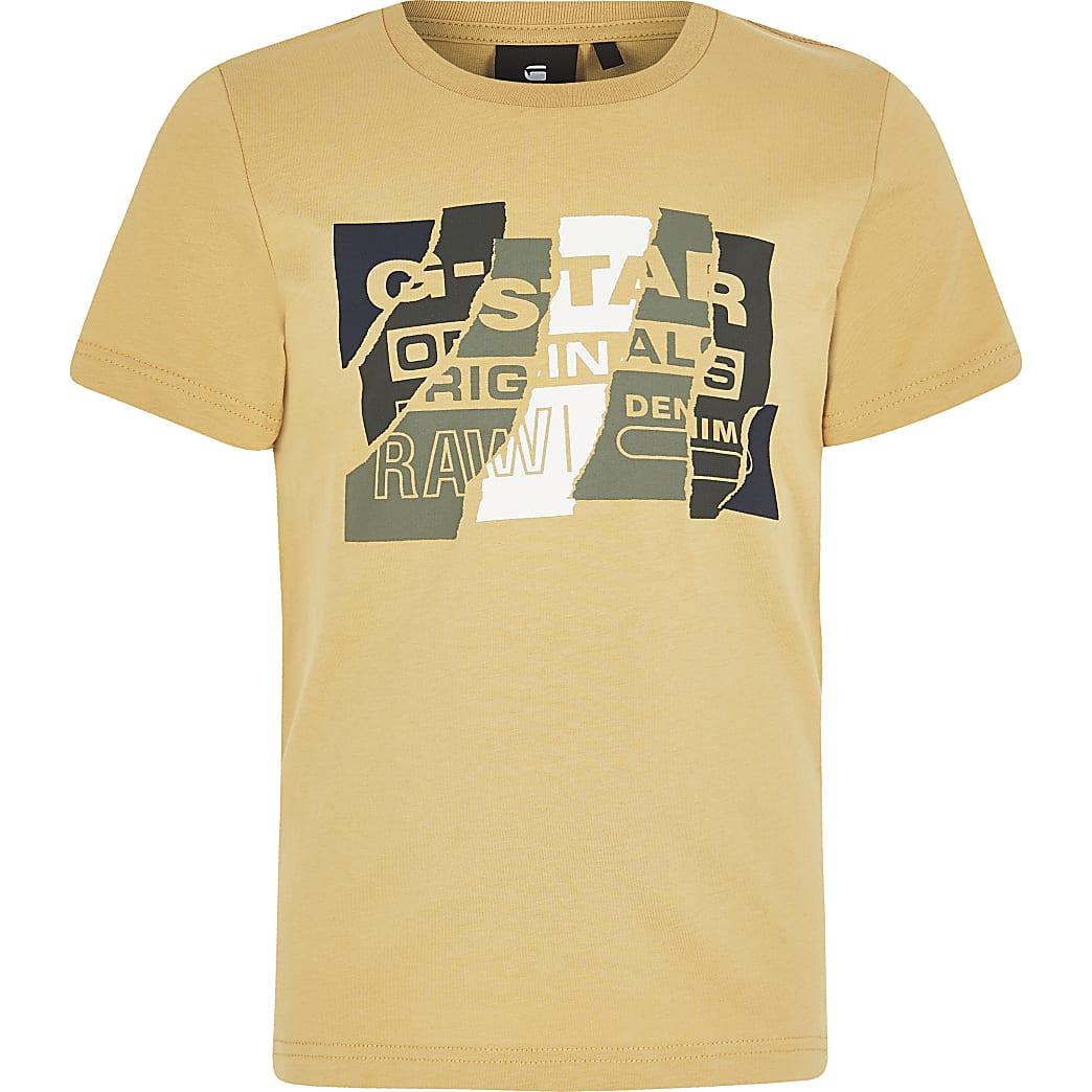 G-Star Raw - Geel T-shirt met print voor jongens