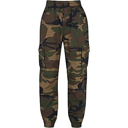 Boys green camo cargo trousers