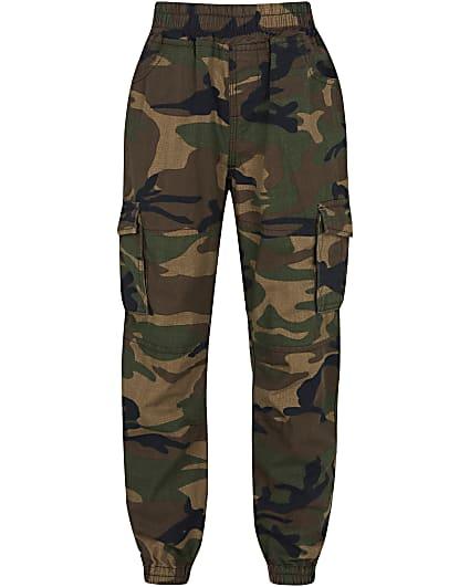 Boys green camo cargo trousers