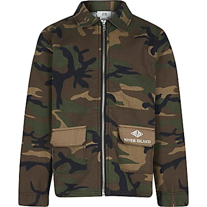 Boys green camo print shacket