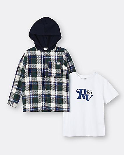 Boys green check overshirt 2 piece set