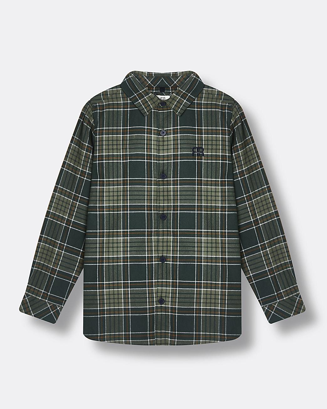 Boys green check print shirt