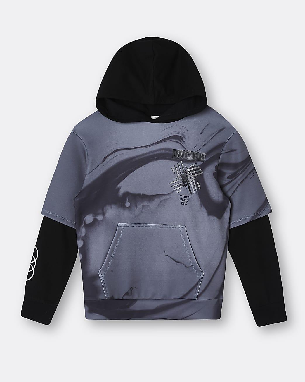 Boys green graphic print double sleeve hoodie