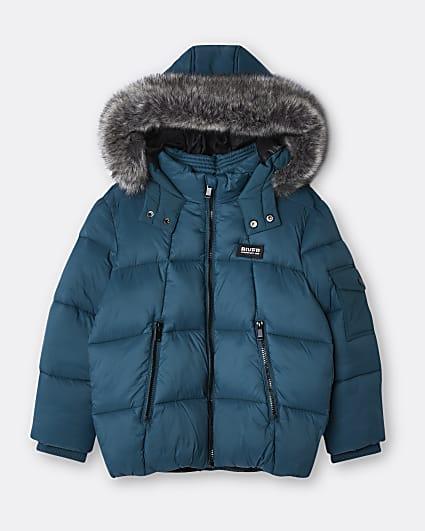 Boys green hooded puffer coat