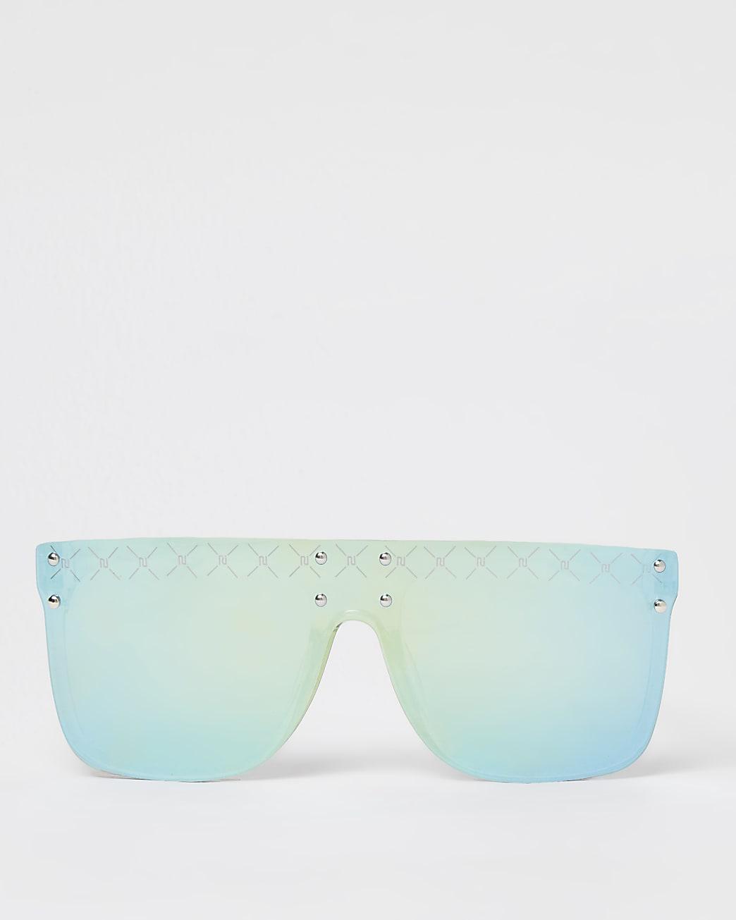 Boys green mirror RI visor sunglasses