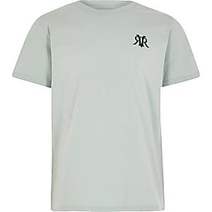 Muntgroen multibuy-voordeel T-shirt met RVR-print voor jongens