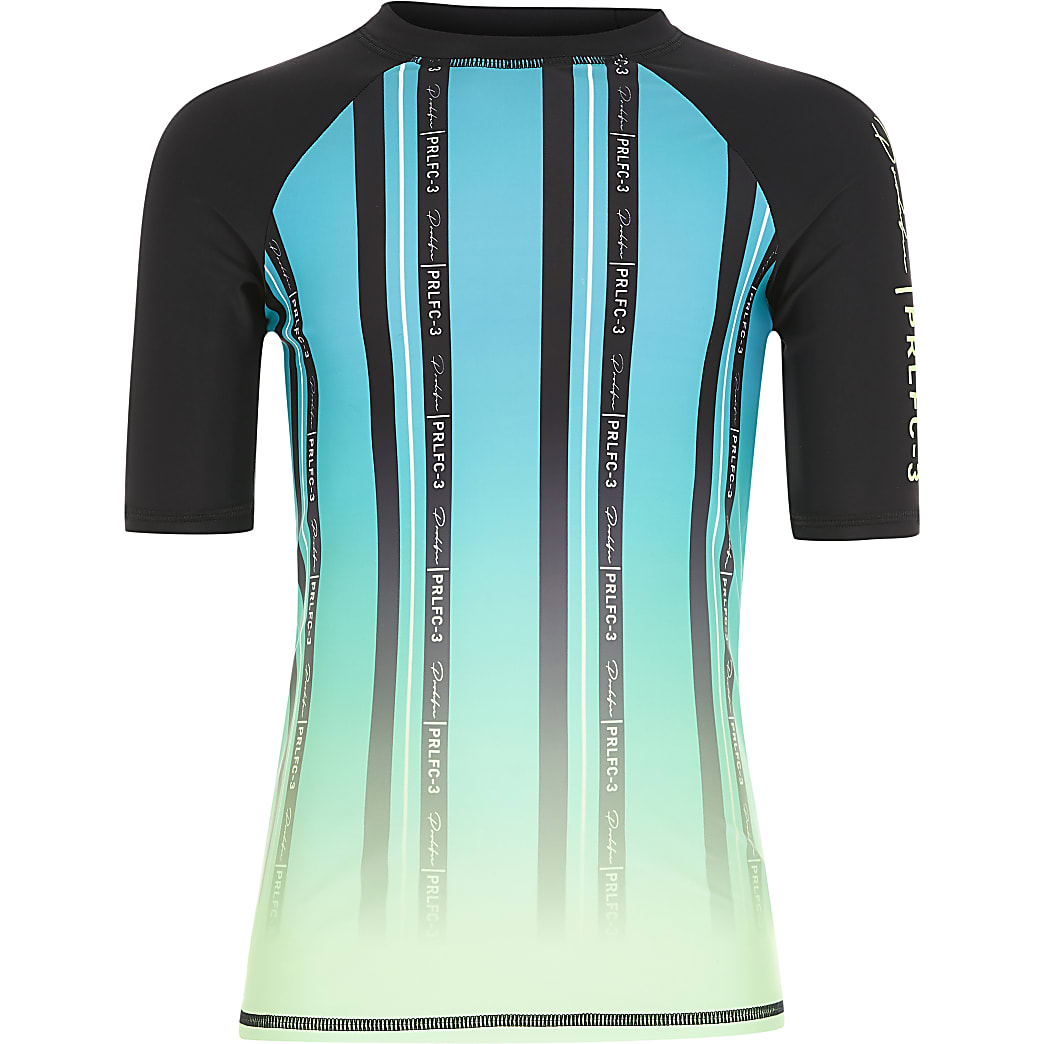 Boys green Prolific stripe rash swim top
