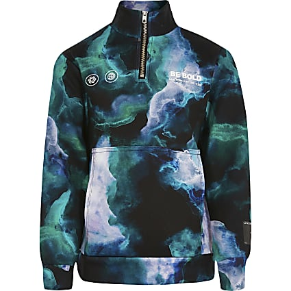 Boys green RI Active tie dye sweatshirt