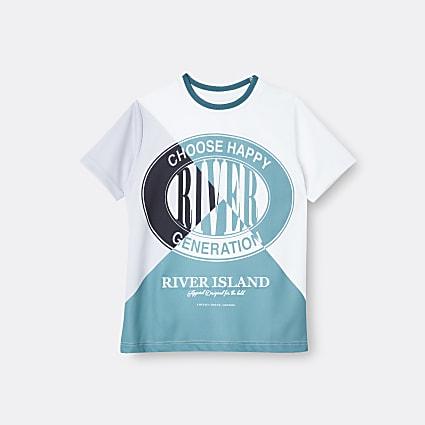 Boys green RI colour block t-shirt