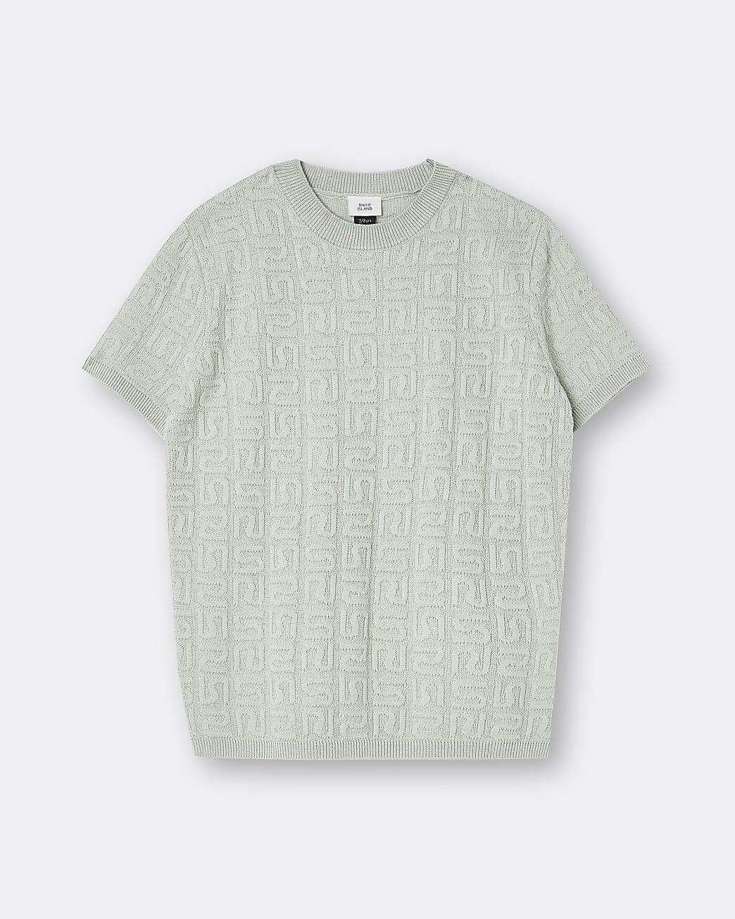 Boys green RI embossed t-shirt