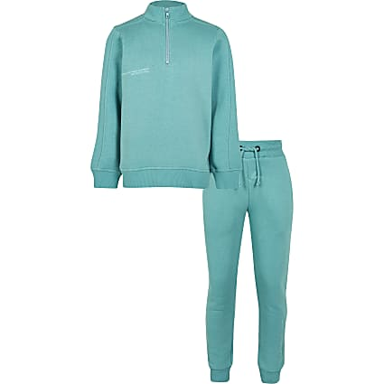 Boys green RI One funnel neck outfit