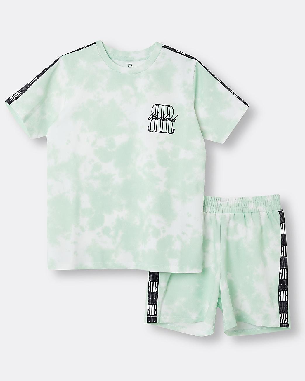 Boys green RI tie dye t-shirt and shorts set
