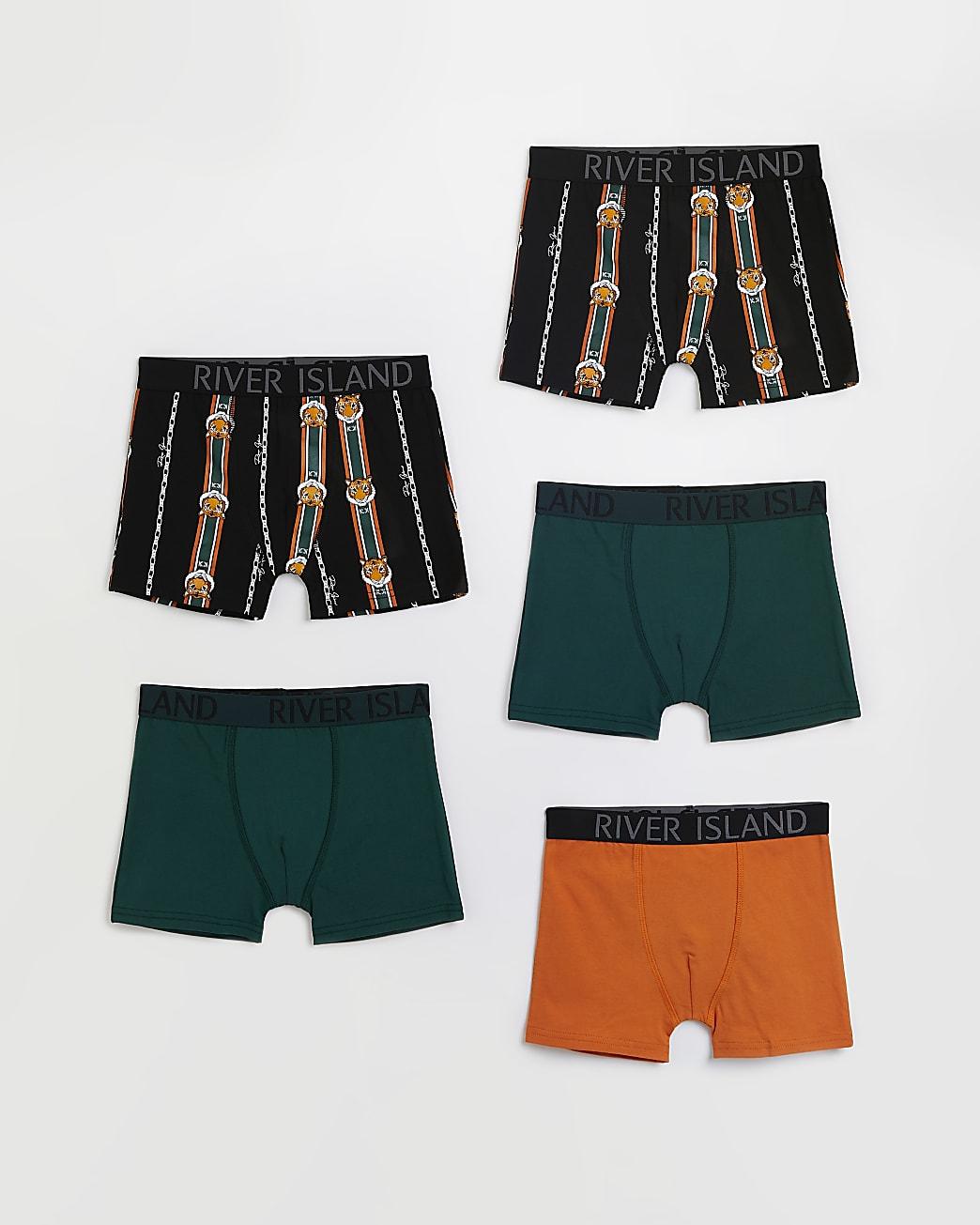 Boys green RI tiger boxers 5 pack