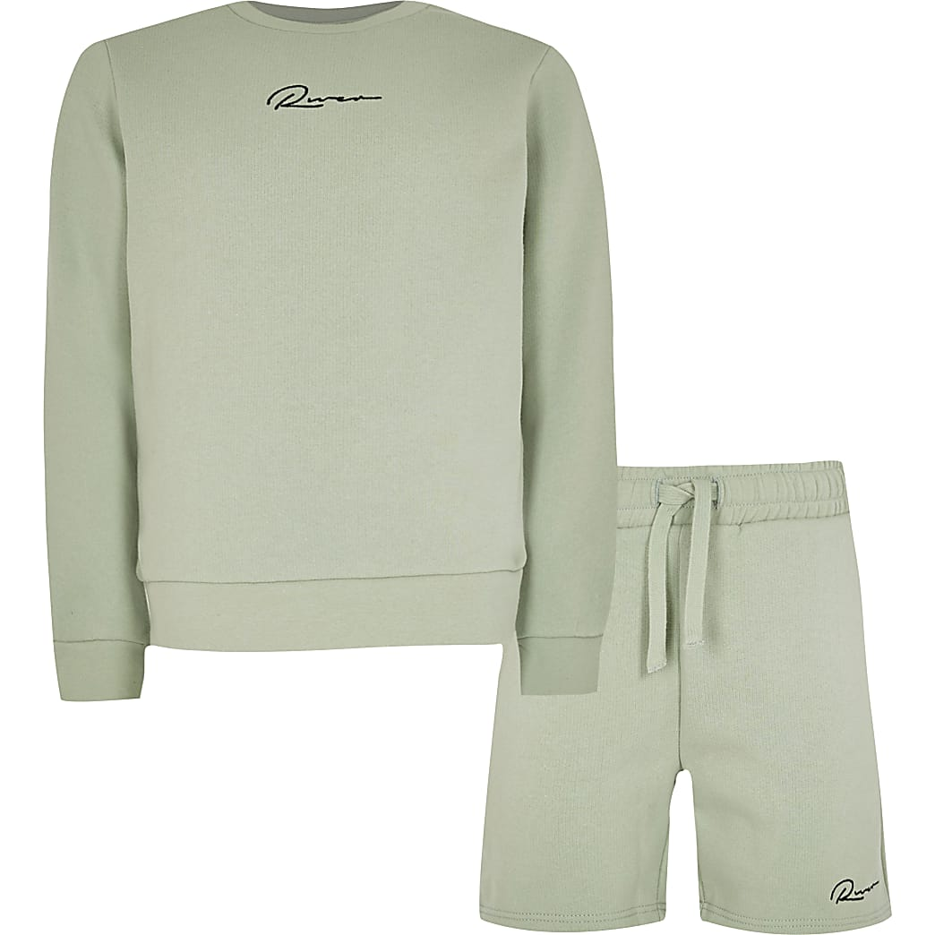 Boys green 'River' sweatshirt outfit