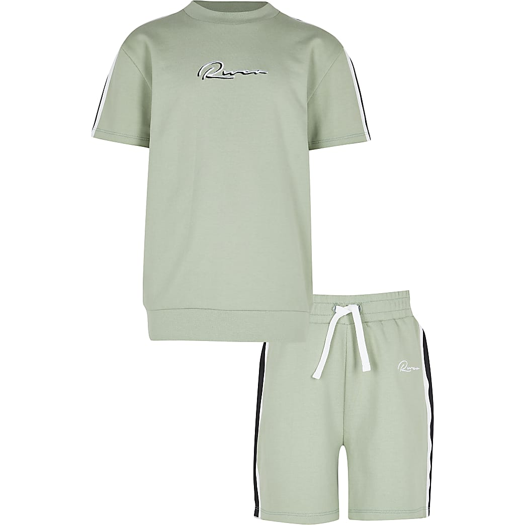 Boys green 'River' t-shirt short outfit