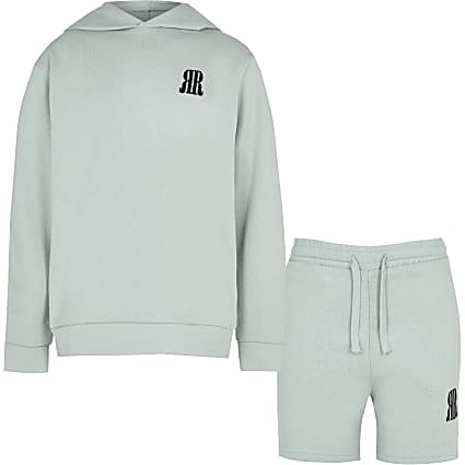 Boys green RR hoodie and shorts outfit
