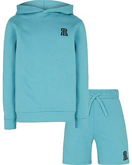Boys green RR hoodie and shorts set