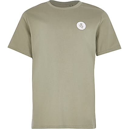 Boys green RVR chest print t-shirt