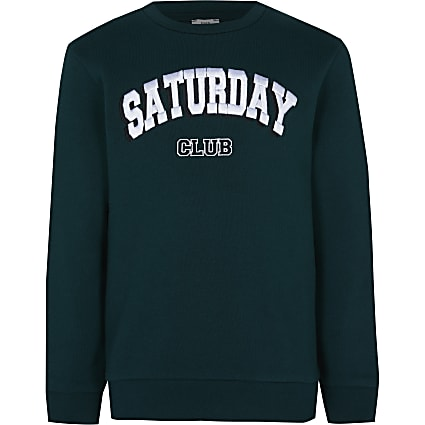 Boys green 'Saturday club' sweatshirt
