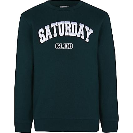 Boys green 'Saturday club' sweatshirt