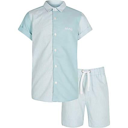 Boys green stripe polo shirt outfit
