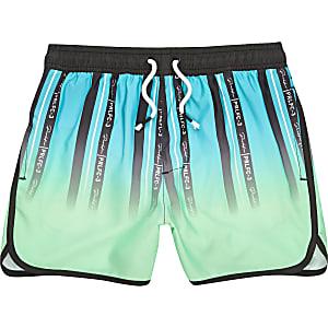 Prolific-Groene gestreepte zwemshorts met print voor jongens
