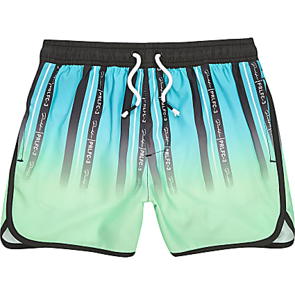 Boys green stripe Prolific swim shorts