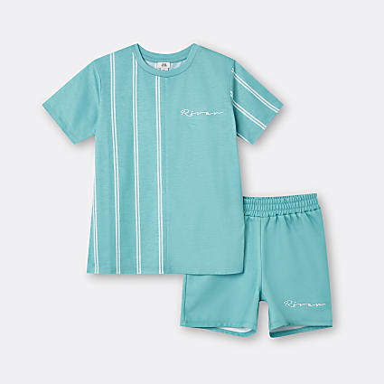 Boys green stripe River t-shirt outfit