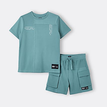 Boys green t-shirt and cargo shorts outfit