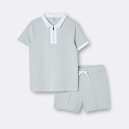 Boys green textured polo shirt and shorts set