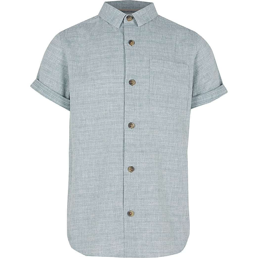 Boys green textured short sleeve shirt