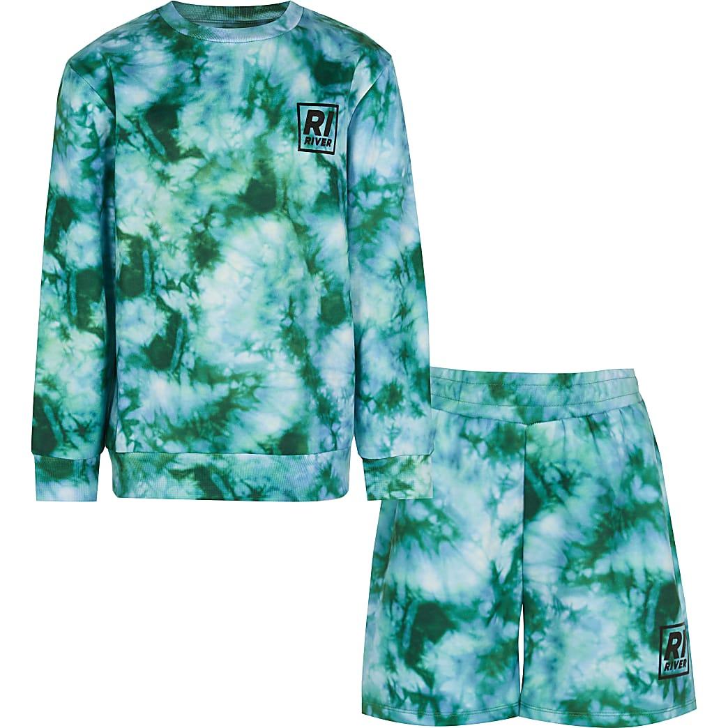 Boys green tie dye sweatshirt outfit
