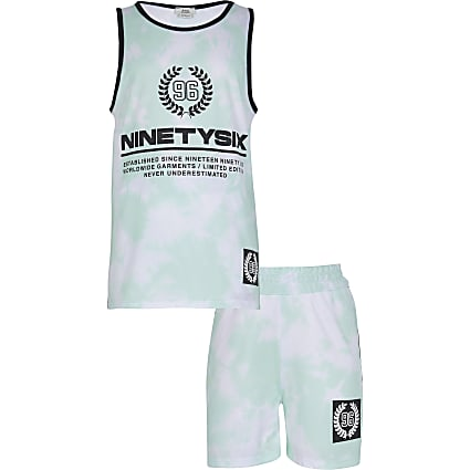 Boys green tie dye vest set