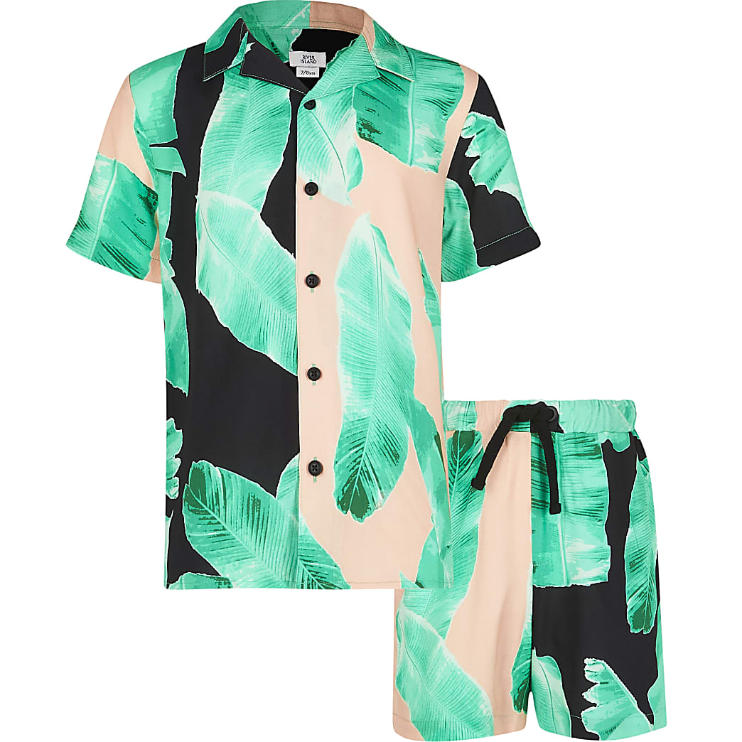 Boys green tropical shirt 2 piece outfit