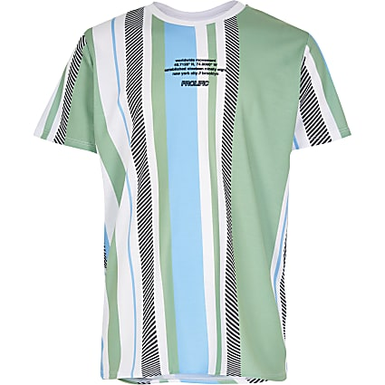Boys green vertical stripe print t shirt